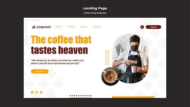 Modelo de design de página de destino de negócios para cafeteria