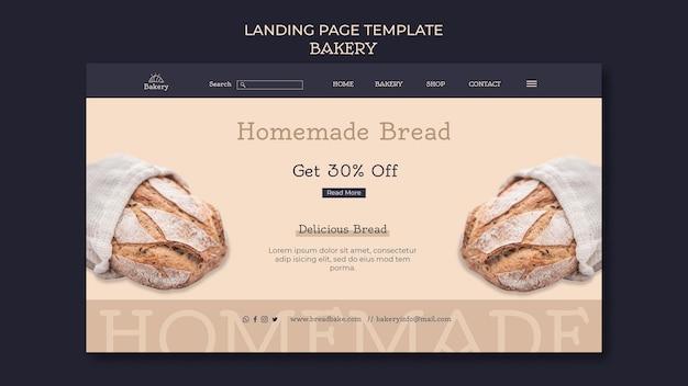 Modelo de design de página de destino de padaria
