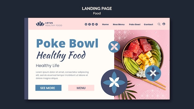 Modelo de design de página de destino de refeição poke bowl