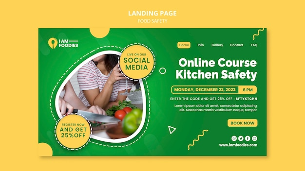 Modelo de design de página de destino de segurança alimentar