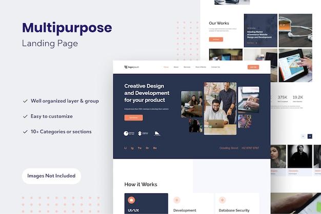 Modelo de design de página de destino de site multiuso