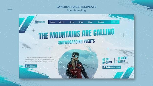 Modelo de design de página de destino de snowboard