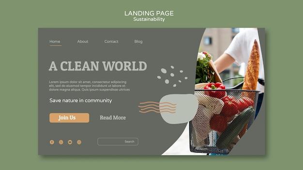 Modelo de design de página de destino de sustentabilidade