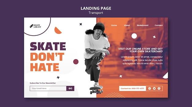 Modelo de design de página de destino de transporte de skate