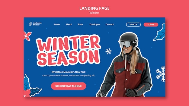 Modelo de design de página de destino de venda de inverno