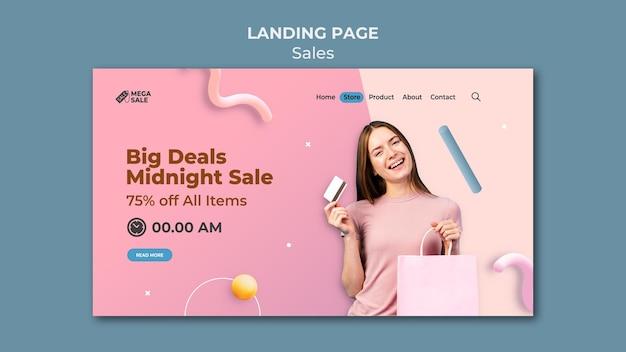 Modelo de design de página de destino de venda