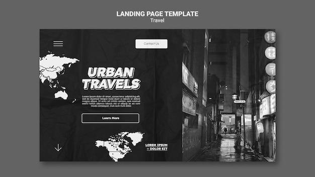 Modelo de design de página de destino de viagens urbanas
