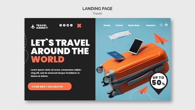 Modelo de design de página de destino de viagens