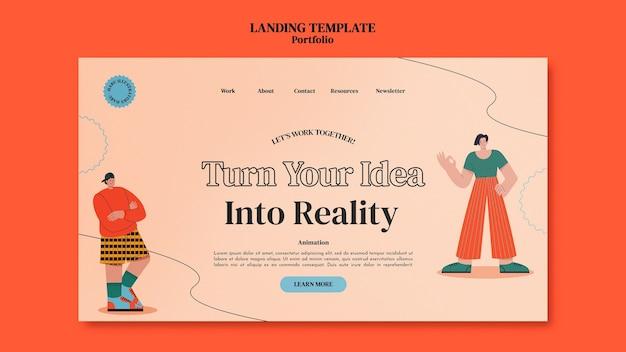 Modelo de design de página de destino do portofolio