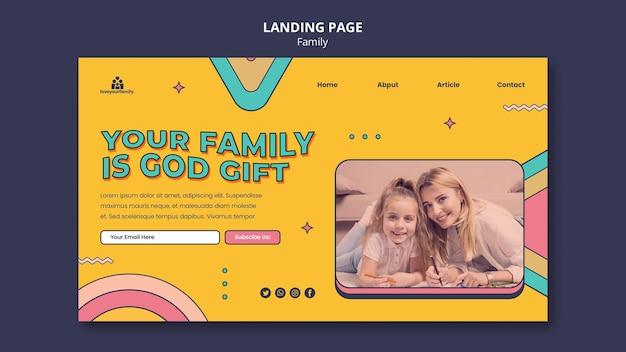 Modelo de design de página de destino familiar