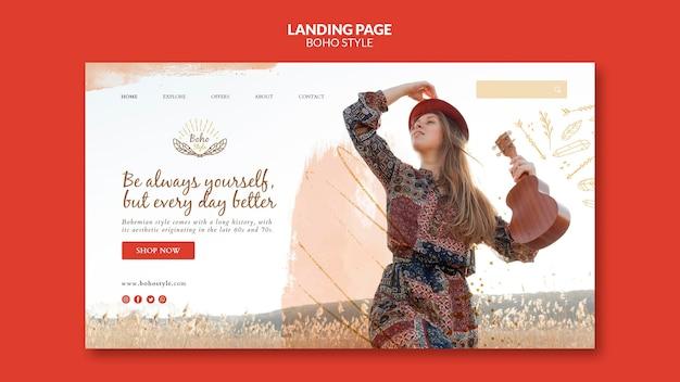 Modelo de design de página de destino no estilo boho