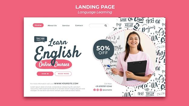 Modelo de design de página de destino para aprendizagem de idiomas