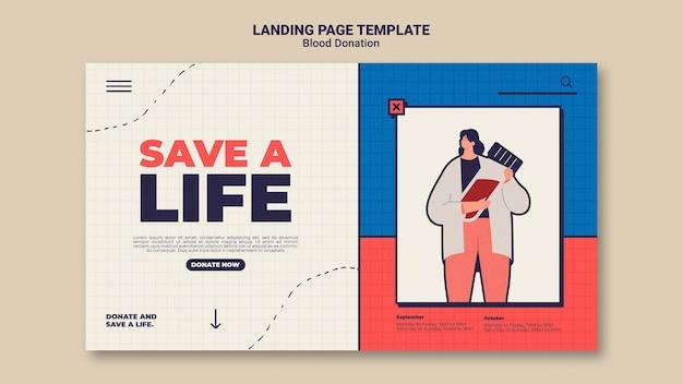 Modelo de design de página de destino para doação de sangue