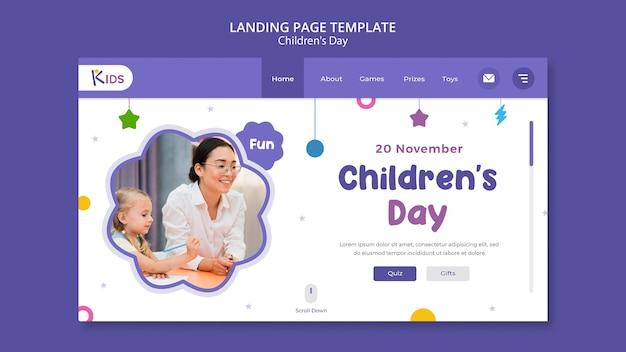 Modelo de design de página de destino para o dia das crianças