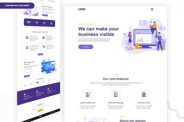 Modelo de design de página de site comercial
