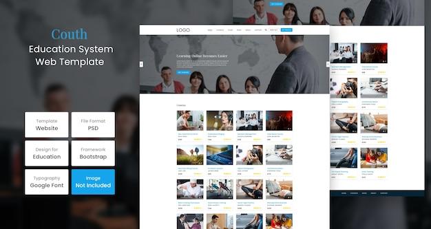 Modelo de design de página de site de educação da couth