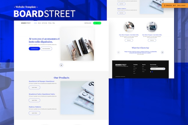 Modelo de design de página de site de placa de rua