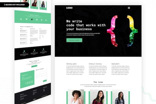 Modelo de design de página de site de programador de codificação