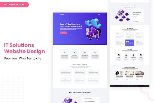 Modelo de design de página de site de soluções de ti