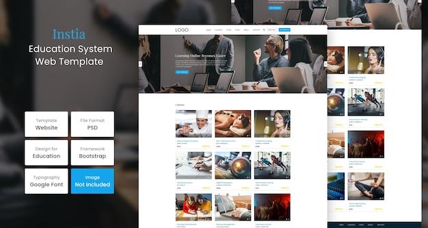 Modelo de design de página do site educacional instia