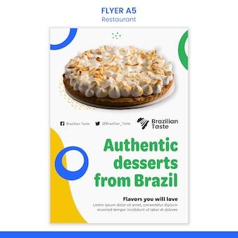 Modelo de design de panfleto de comida brasileira