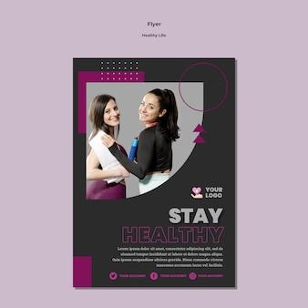 Modelo de design de panfleto de estilo de vida saudável