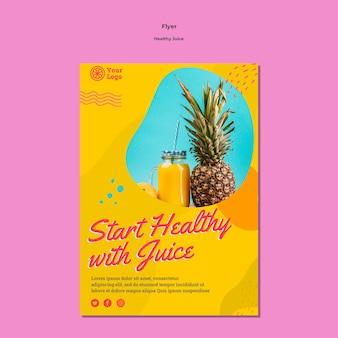 Modelo de design de panfleto de suco saudável