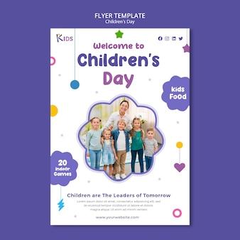 Modelo de design de panfleto para o dia das crianças