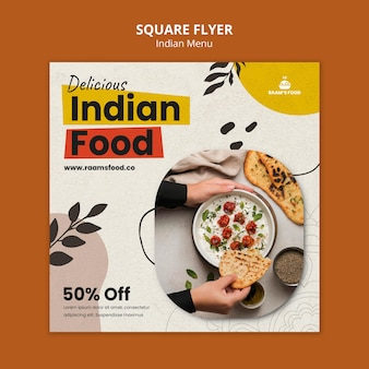 Modelo de design de panfleto quadrado de comida indiana