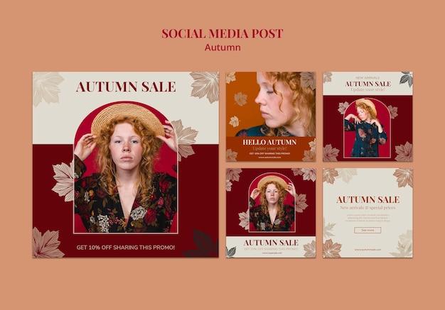 Modelo de design de pós-venda de mídia social de outono