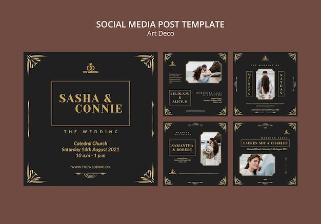Modelo de design de post de mídia social art déco