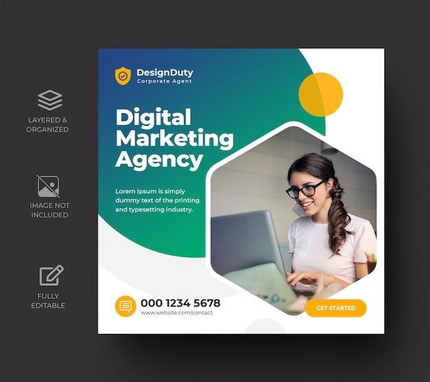 Modelo de design de post de mídia social de promoção de marketing de negócios digitais