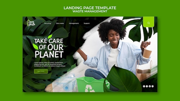Modelo de design de postagem da página de destino para gerenciamento de resíduos