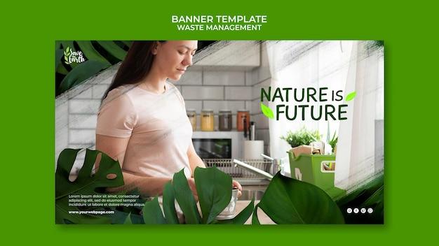 Modelo de design de postagem de banner de gerenciamento de resíduos