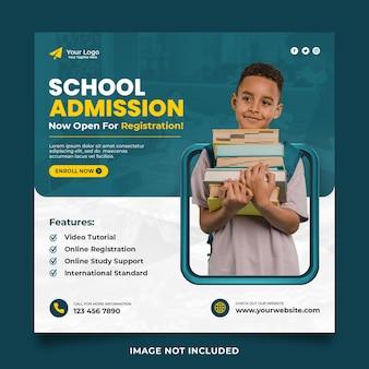 Modelo de design de postagem de banner de mídia social para admissão escolar com quadro de renderização em 3d
