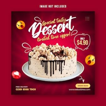 Modelo de design de postagem de banner de mídia social para bolo de chocolate