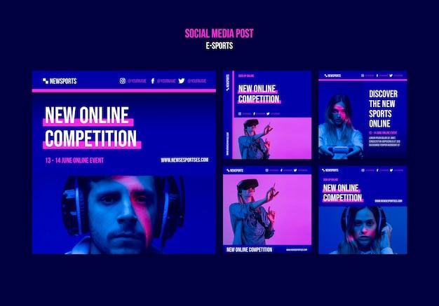Modelo de design de postagem de mídia social de e-sports