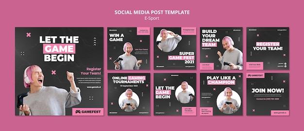 Modelo de design de postagem de mídia social de esporte eletrônico