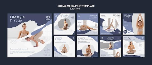 Modelo de design de postagem de mídia social de estilo de vida de ioga