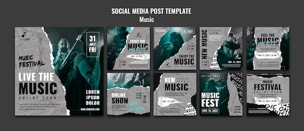 Modelo de design de postagem de mídia social de música