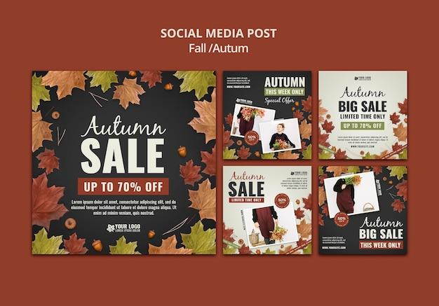 Modelo de design de postagem de mídia social de outono