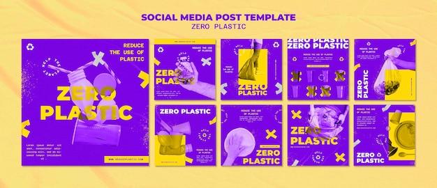 Modelo de design de postagem de mídia social de plástico zero
