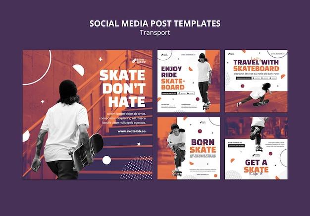 Modelo de design de postagem de mídia social de transporte de skate