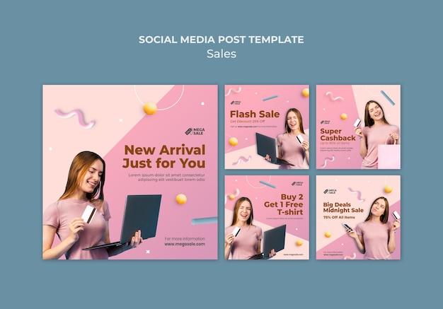 Modelo de design de postagem de mídia social de venda