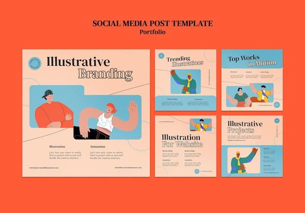 Modelo de design de postagem de mídia social insta portofolio