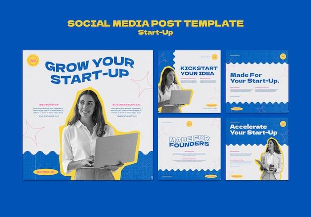 Modelo de design de postagem de mídia social insta startup