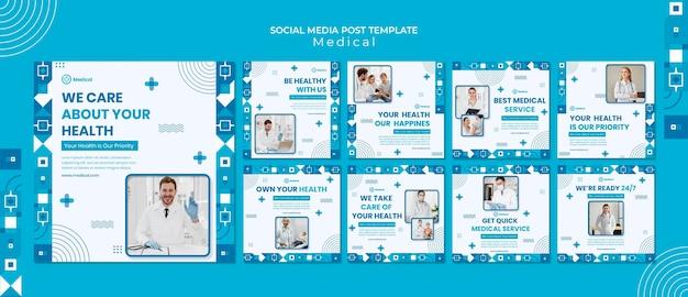 Modelo de design de postagem de mídia social médica