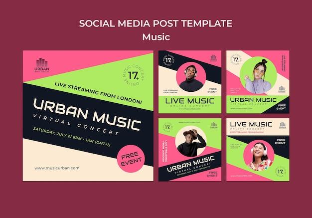 Modelo de design de postagem de mídia social para show de música insta Psd Premium