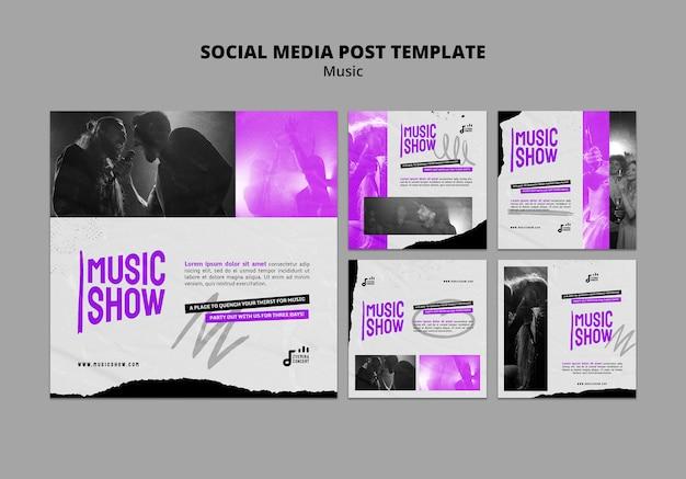 Modelo de design de postagem de mídia social para show de música insta