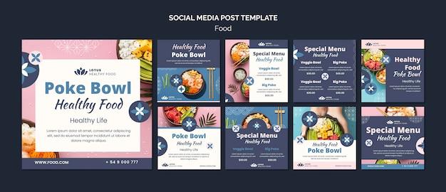 Modelo de design de postagem de mídia social poke bowl meal insta